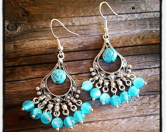 Earrings silver and turquoise rose bead/turquoise glass beads