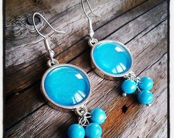 Earrings dangle silver turquoise cabochon