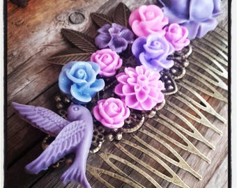 Barrette pink and purple tones flower comb, wedding, vintage wedding hair accessory