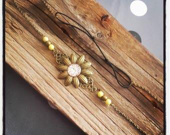 Head Band bronze flower headband / yellow flower cabochon and beads