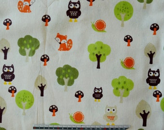 "Vintage ""OWL"" pattern linen fabric"