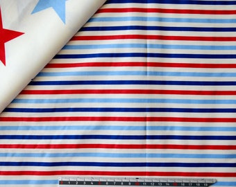 """White """"Stripes"""" pattern blue and Red cotton fabric"""