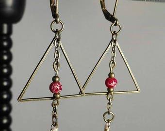 bronze Pearl triangle glass earrings