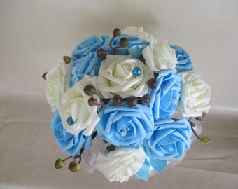 Turquoise and white bridal bouquet (colors customizable)