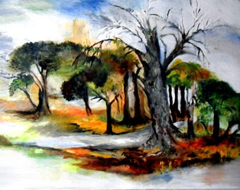 "Southern, original contemporary landscape painting: ""Left tree"" of a quantity of 92 cm x 73 cm"