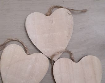 Wooden hanging hearts