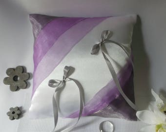 Grey/purple wedding ring bearer pillow