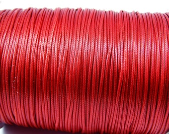5 meters for jewelry diameter 1 mm red waxed cord