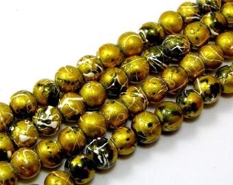 Set of 20 drawbench 6 mm yellow glass beads