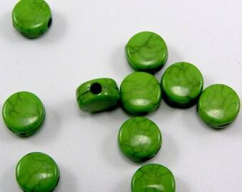 Acrylic Pearl flat imitation turquoise 8 x 4 mm Green set of 20