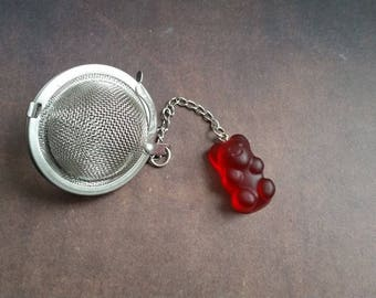 Bear candy resin red stainless steel tea ball