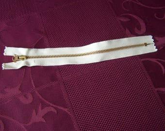 Set of 10 metal 20 cm ecru zipper closures