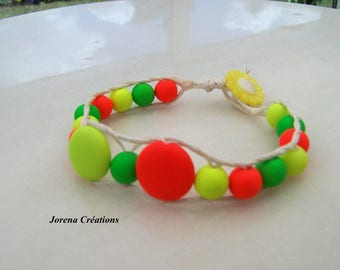 Wrap bracelet neon trend with multicolored beads on white cotton cord