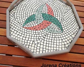 Mosaic tray octagonal geometric decor