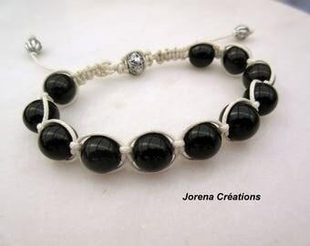 Bracelet shamballa waxed cotton braided white and black glass beads