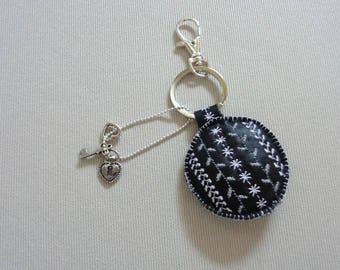 Embroidered leather bag charm Keyring