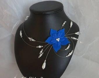 MYLLIE white & Royal Blue wedding necklace