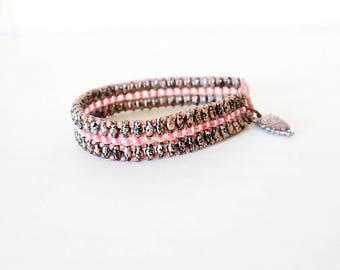 Tweedy, Superduo beads, seed beads bracelet