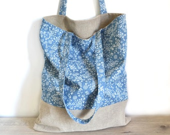 Tote bag in linen and chambray floral fabric