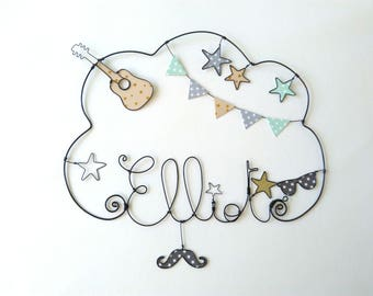"""""""Guitar and Rock and roll"""" personalized wire name wall decor for child's room"""