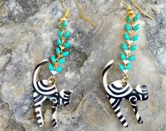 Zebra cat earrings