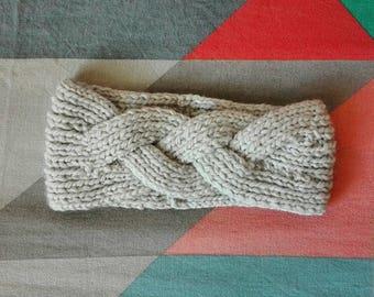headband (headband) beige braid 30% wool
