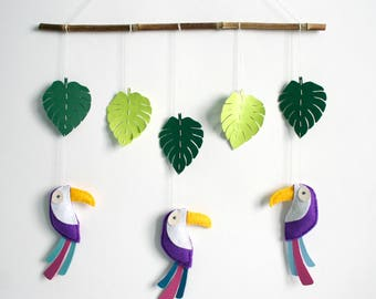 Mobile tropical theme - purple toucans and leaves made of felt and faux leather