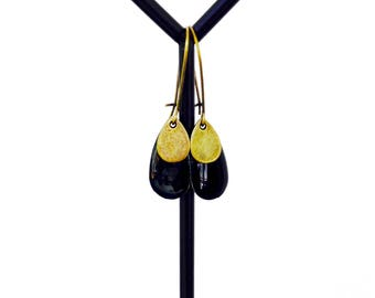 Bronze earrings - Sequins enamelled drops - bronze and black