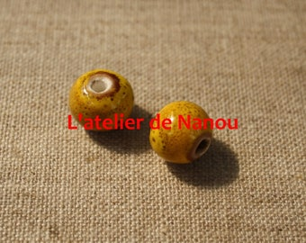 handmade 6 mm yellow ceramic bead