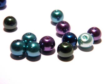 20 beads 8 mm glass-Pearl iridescent - blue jean F76 mix
