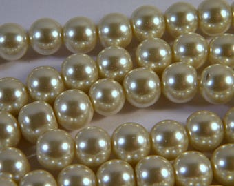 "50 glass pearls ""cultured pearl"" ivory 10 mm C22"