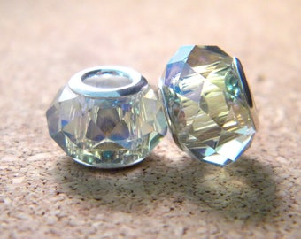 Pearl charm-European glass electroplate faceted 14 x 9 mm iridescent colors - C30