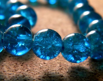 glass Crackle 8 mm - turquoise - PE138 50 beads
