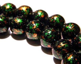 bright decorated glass - 10 beads 10 mm - tones green and copper PG144 2