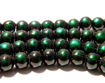 20 6 mm-2 iridescent matte-black and green glass bead - glass - K23-3 bead