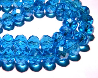 """35 """"Austrian Crystal"""" glass beads faceted 10 mm x 7 mm - turquoise-PG132-5"""