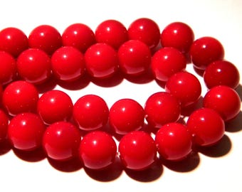 10 glass fired-10 mm - smooth and bright red tomato bright K57 4 beads