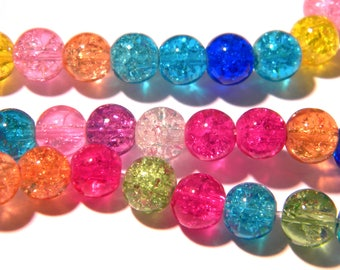 glass - Crackle Glass - multicolor - G139 45 Crackle glass beads - 8 mm bead