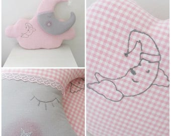 Cushion cloud and moon hanging blanket pink and gray