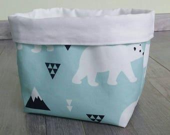 Layered White bear pattern storage basket