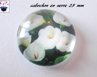 1 cabochon clear 25 mm flower theme