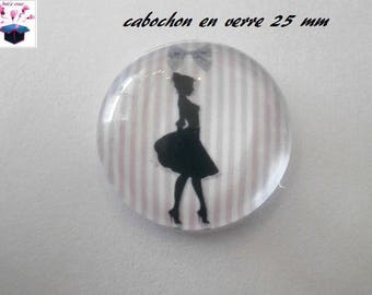 1 cabochon clear 25 mm theme heels pink stripe