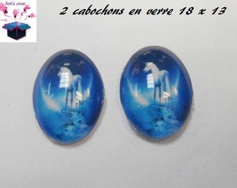 2 glass cabochons 18mm x 13mm horse theme