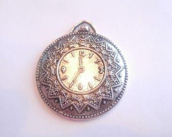 1 Tibetan antique silver watch motif pendant size 37 x 32 mm