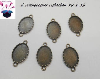 6 connectors bronze cabochon 18 x 13 mm