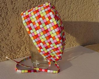 "Hat, Cap block multicolor ""mosaic"" pattern"