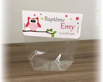 10 sachets favors with custom label baptism - birthday