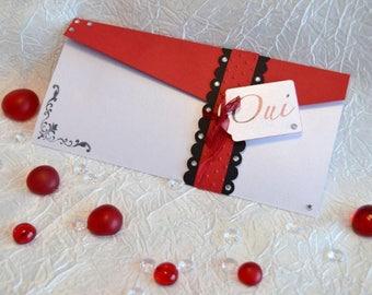 "Wedding invitation ""Rhinestone clutch"" 10: white iridescent, red and black"