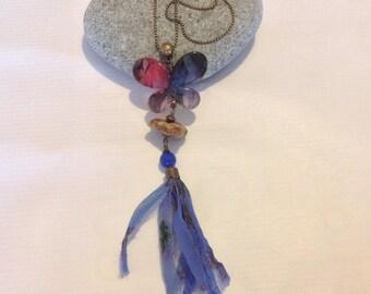 Necklace pendant bronze metal Butterfly & Driftwood