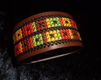 cross-stitched multicolor Cuff Bracelet
